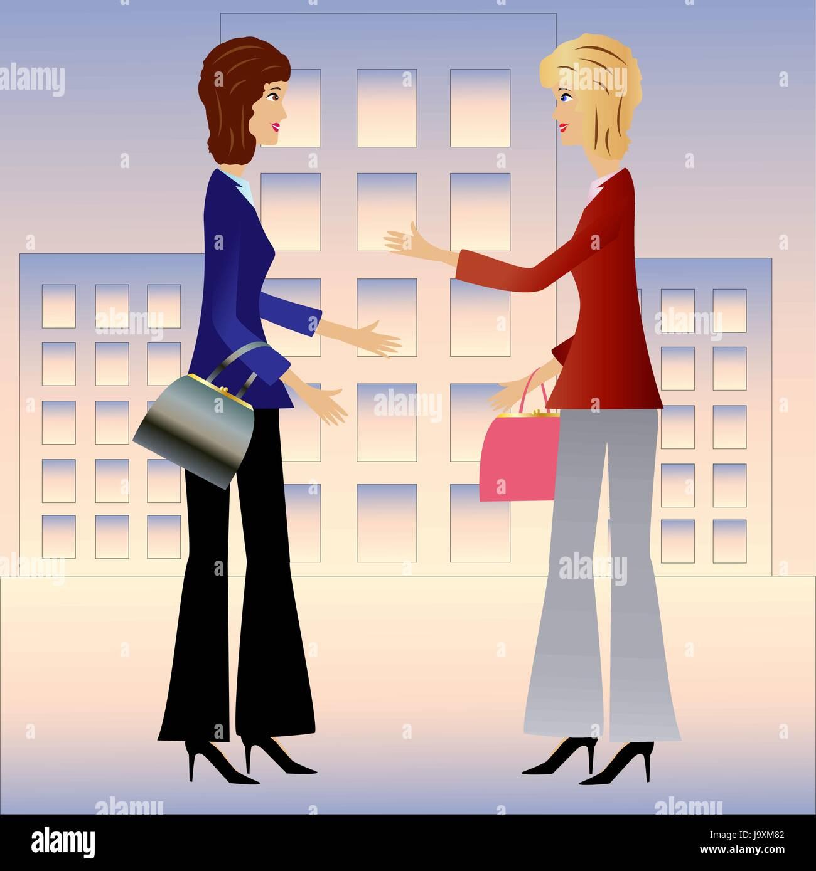 two  business woman speak, vector illustration - Stock Vector