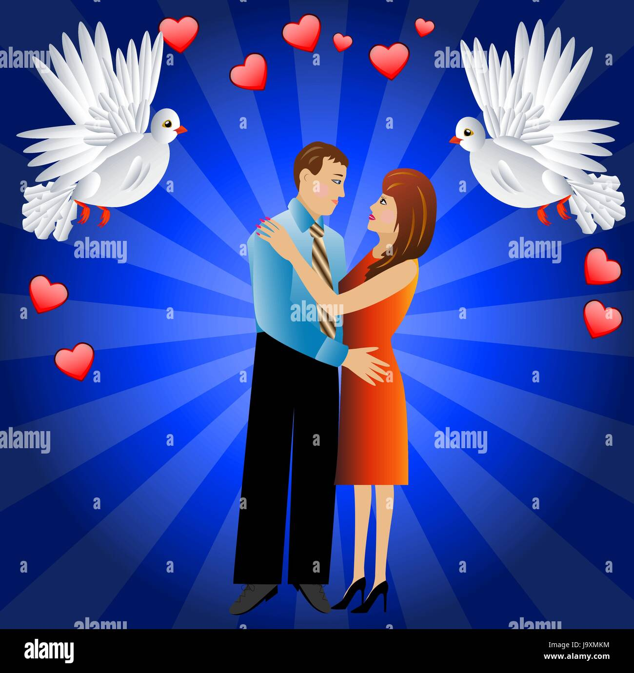 young loving couple and two white fondling,a vector illustration Stock Vector