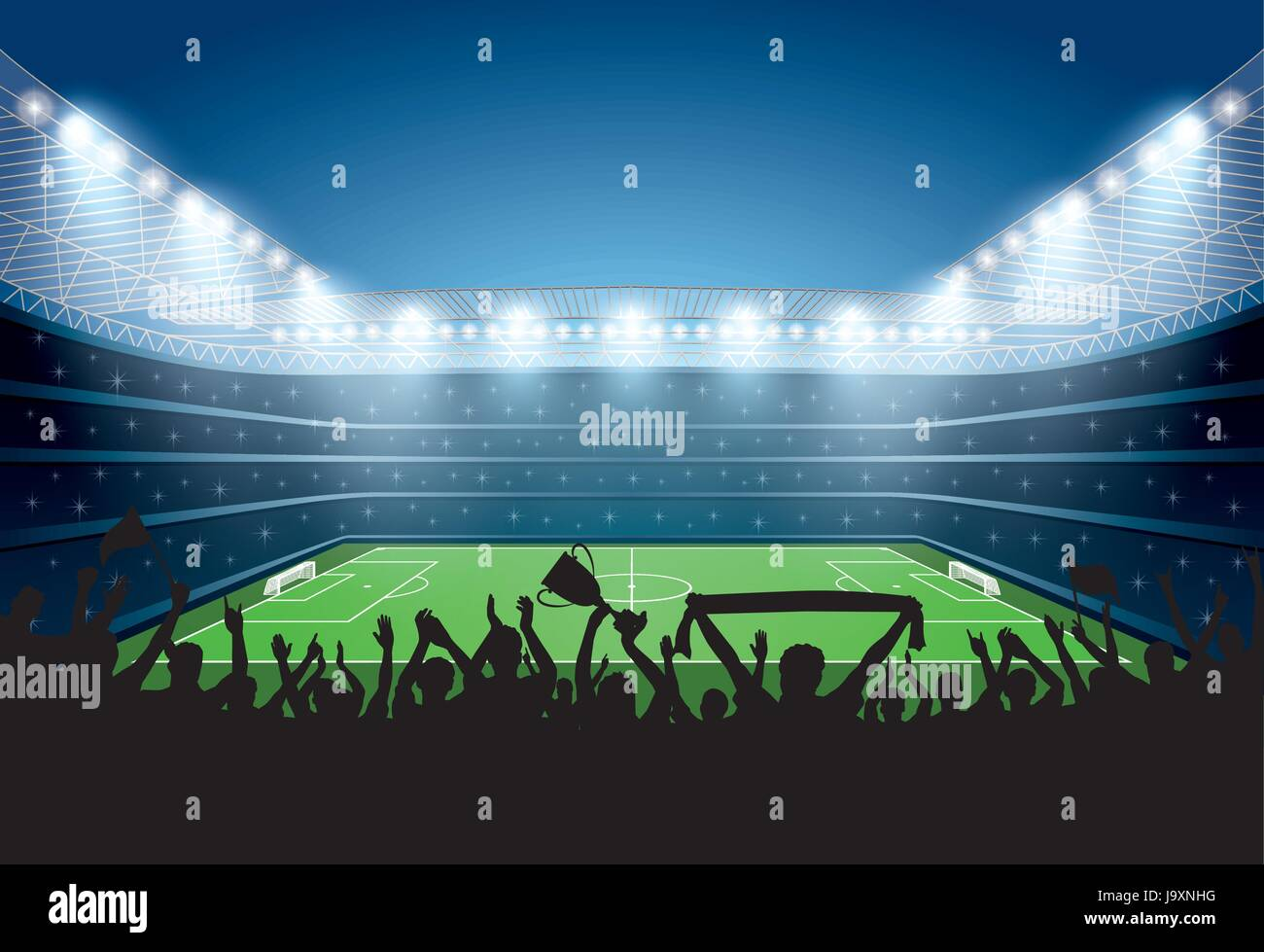 Excited crowd of people at a soccer stadium. Football stadium. Soccer arena. - Stock Vector