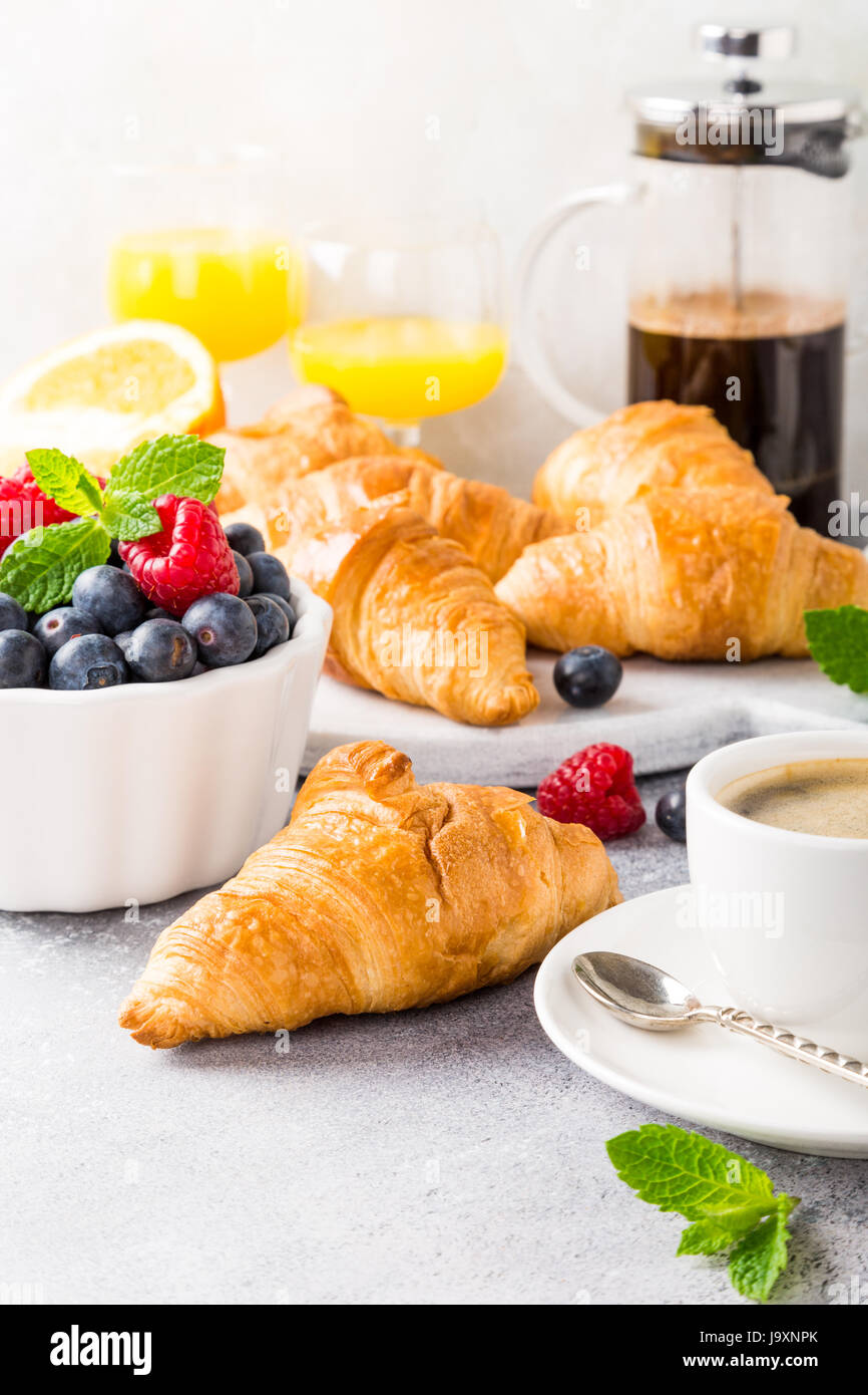 Delicious continental breakfast - Stock Image