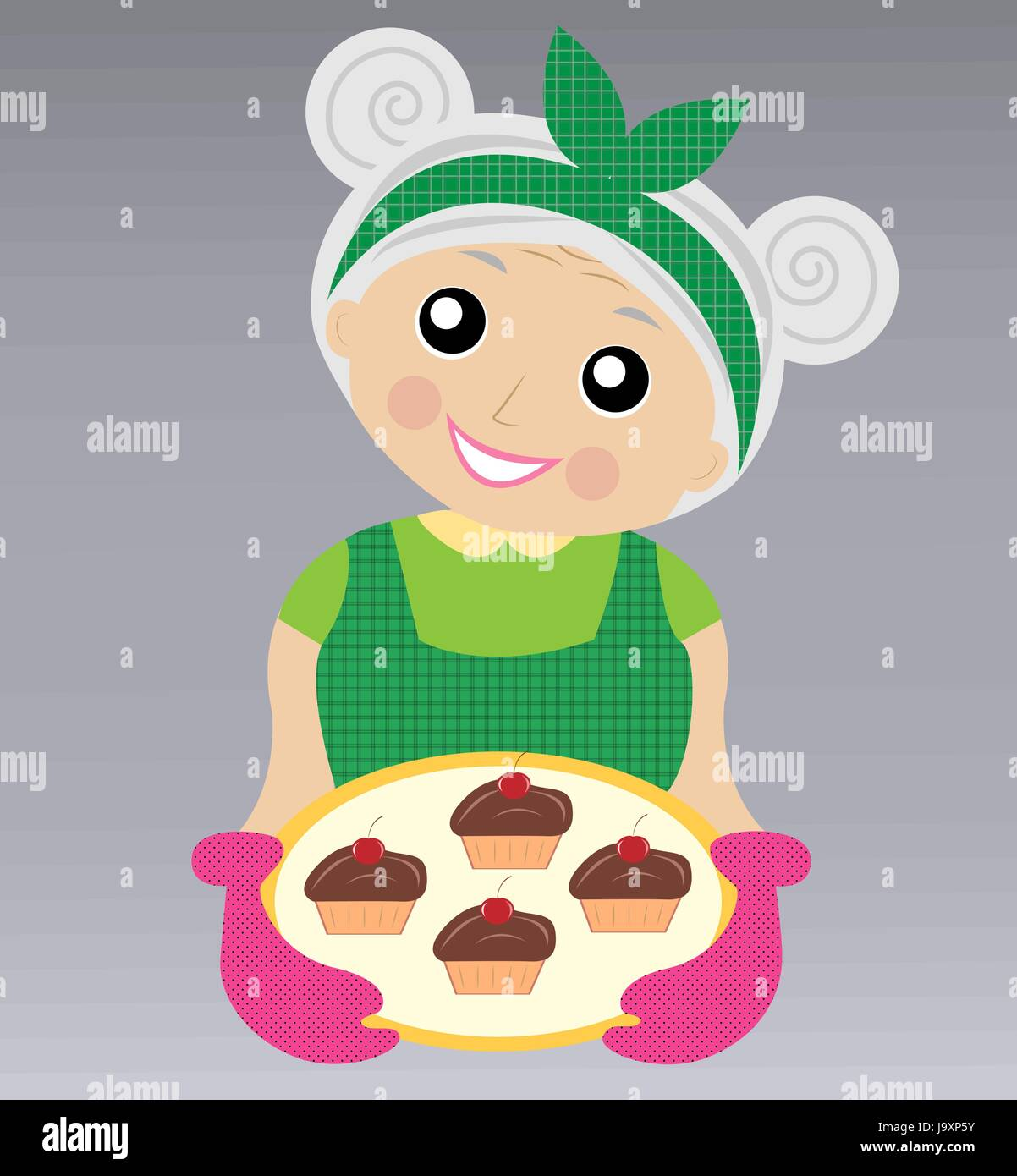 a merry grandmother prepares a delicious dessert,  vector  illustration - Stock Vector