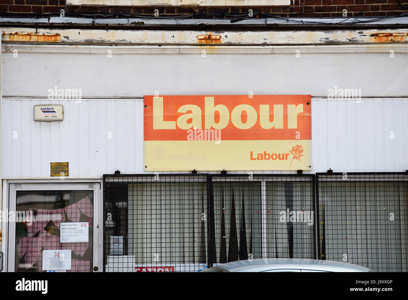 Labour party office for the Southend on Sea area, Essex, looking run down. Space for copy. 268 Sutton Road Stock Photo