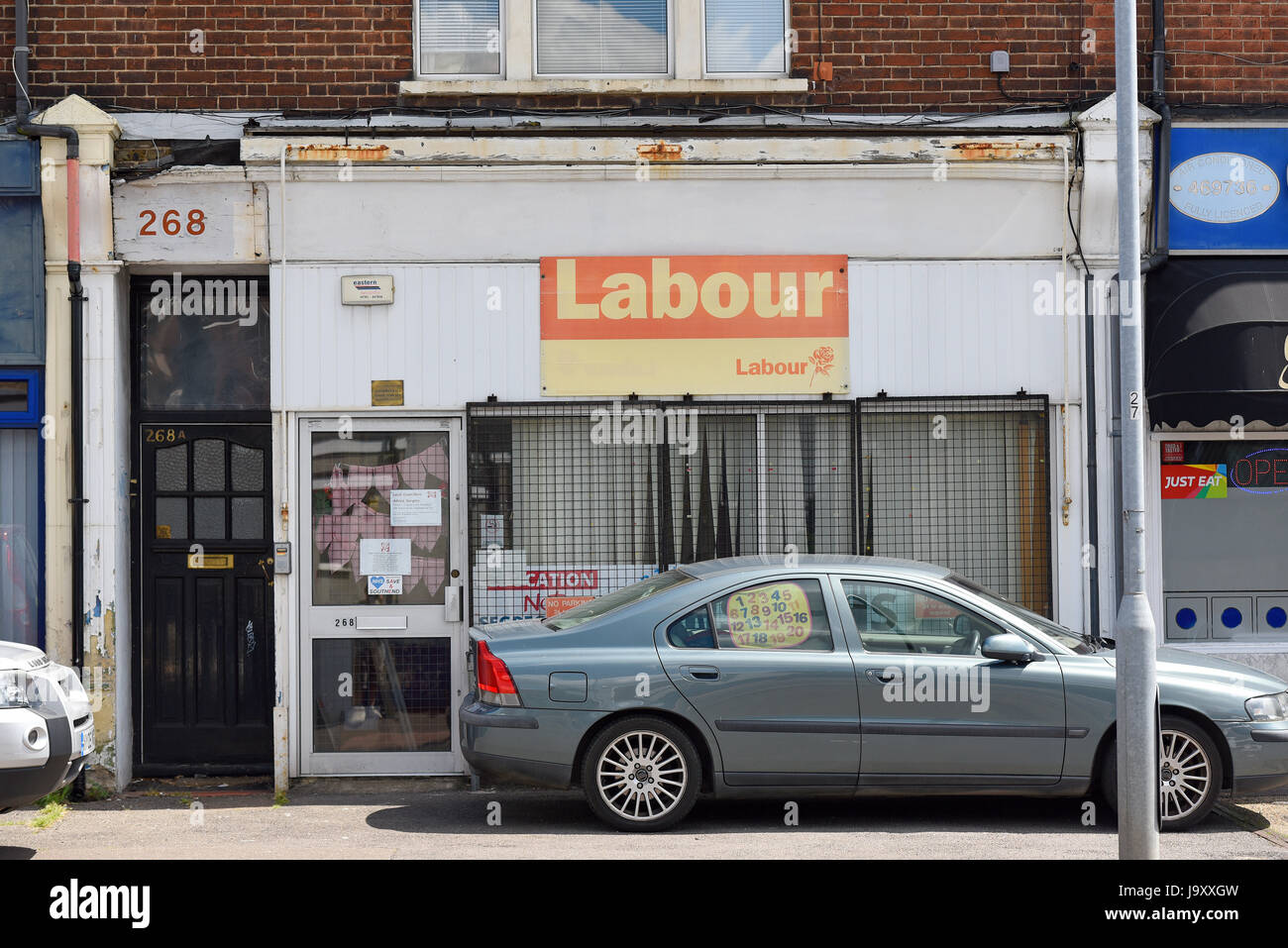 Labour party office for the Southend on Sea area, Essex, looking run down. Space for copy. 268 Sutton Road - Stock Image