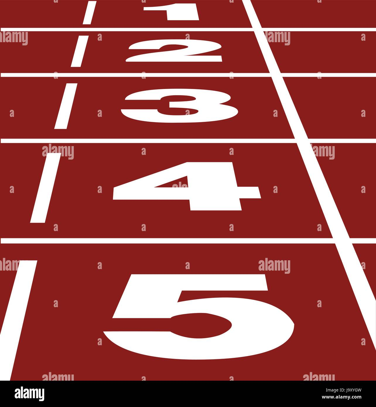 Perspective vector of start or finish position on running track Stock Vector
