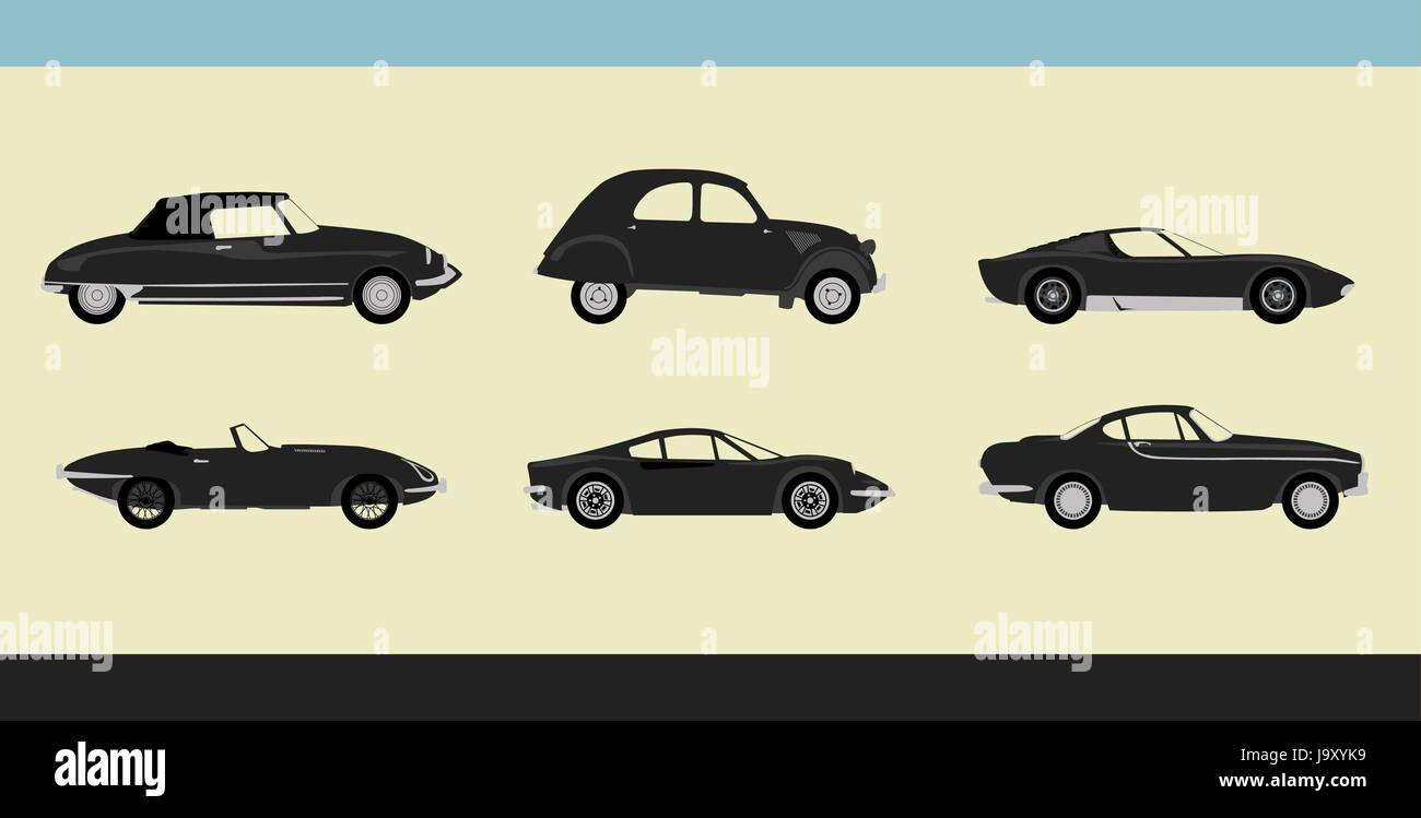 Vector of old-fashioned retro cars - Stock Image