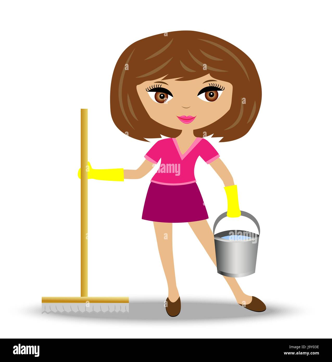 young woman  with mop and bucket in hand, vector illustration - Stock Vector
