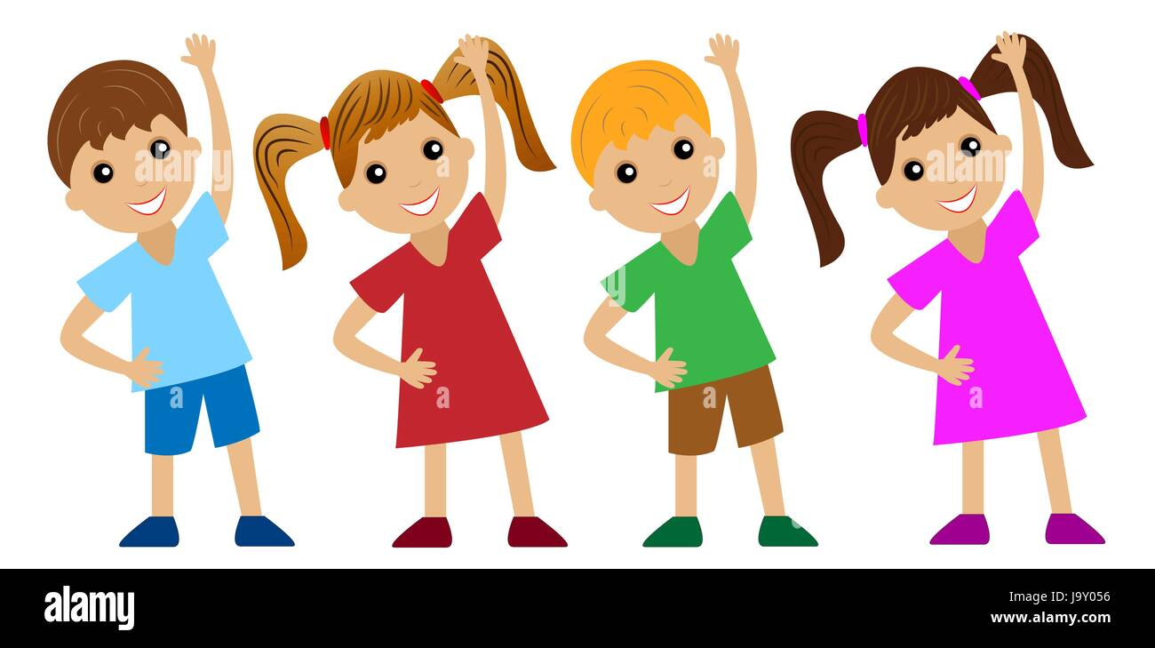 Children Go In For Sports Do Physical Exercise Vector Illustration Stock Vector Image Art Alamy