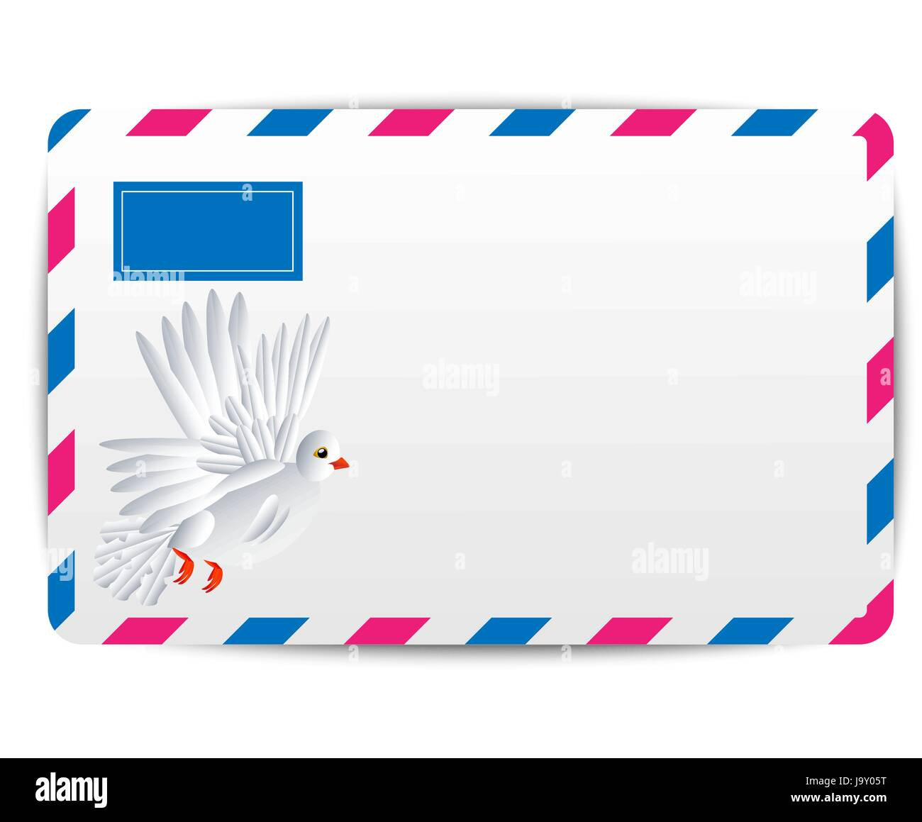 envelope Air with the drawn white pigeon, vector illustration - Stock Image
