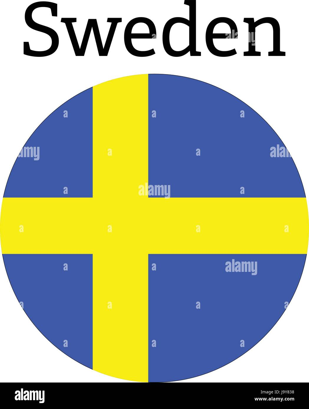 The Swedish flag in the form of a glossy icon. - Stock Vector
