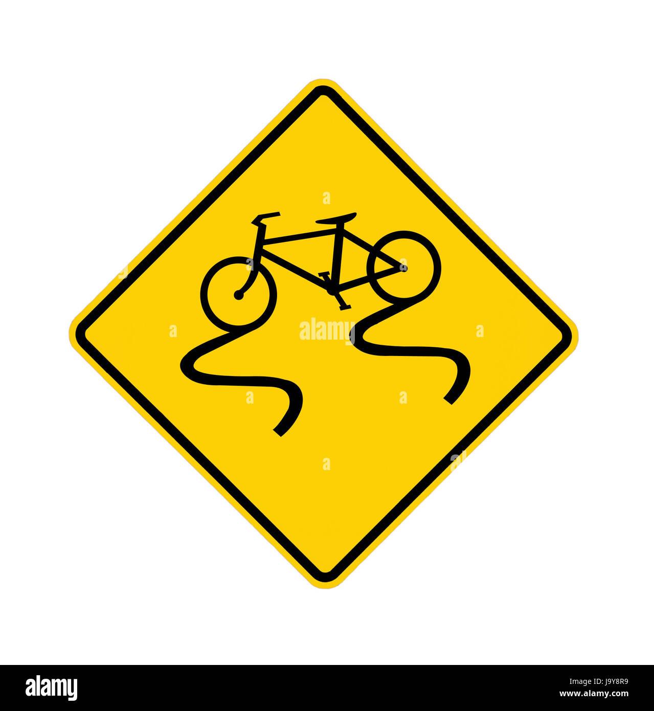road sign - slippery bike - Stock Image