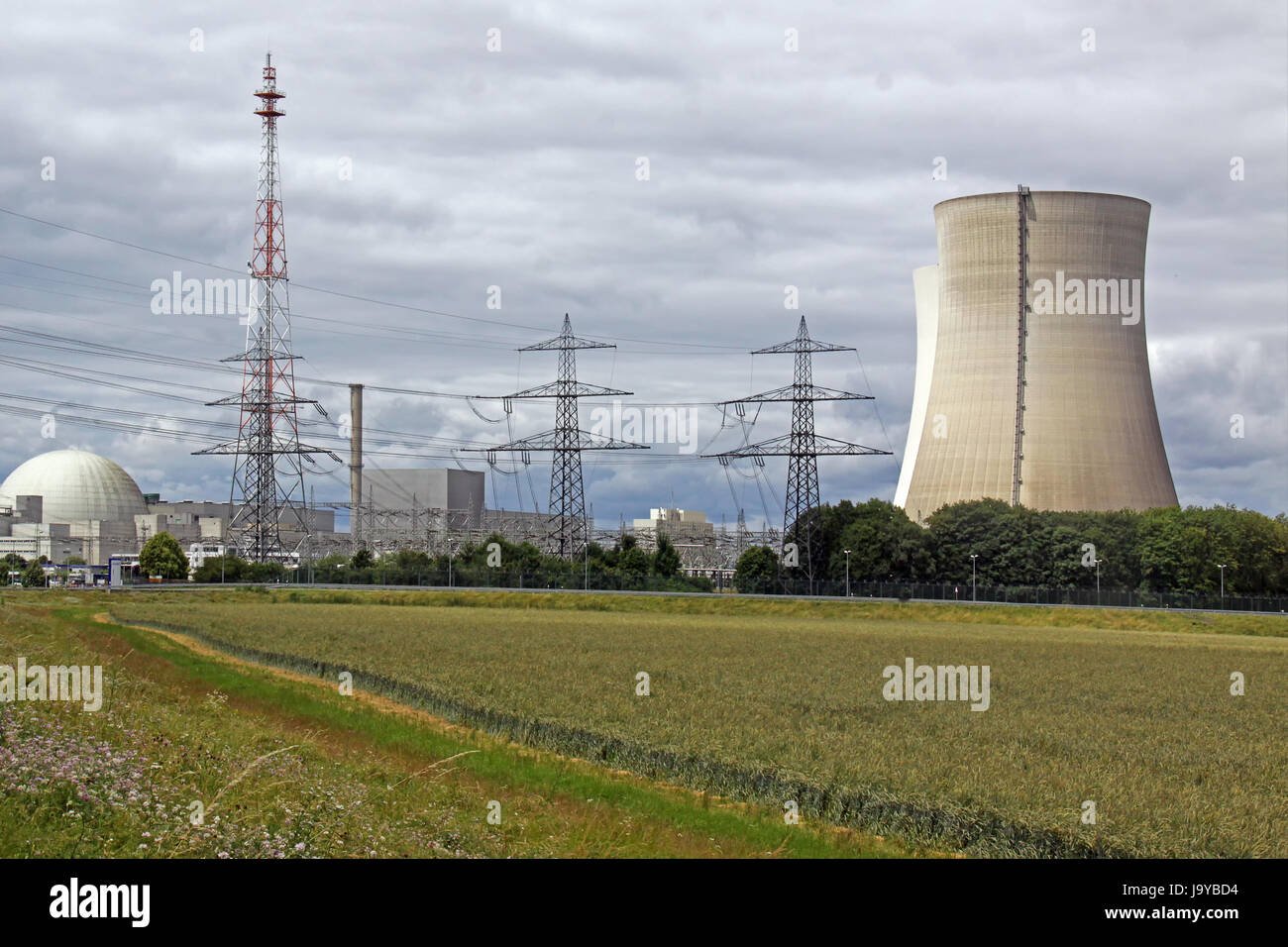 nuclear power plant in philippsburg - Stock Image