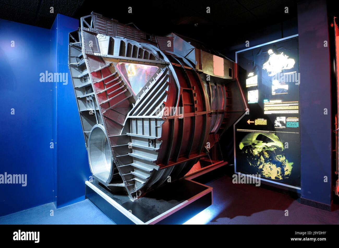 Lunar Module ascent stage test unit, Kansas Cosmosphere and Space Center, Hutchinson, Kansas. - Stock Image