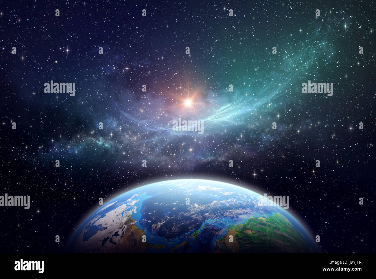 Extrasolar planet, star cluster and nebula in outer space - Stock Image