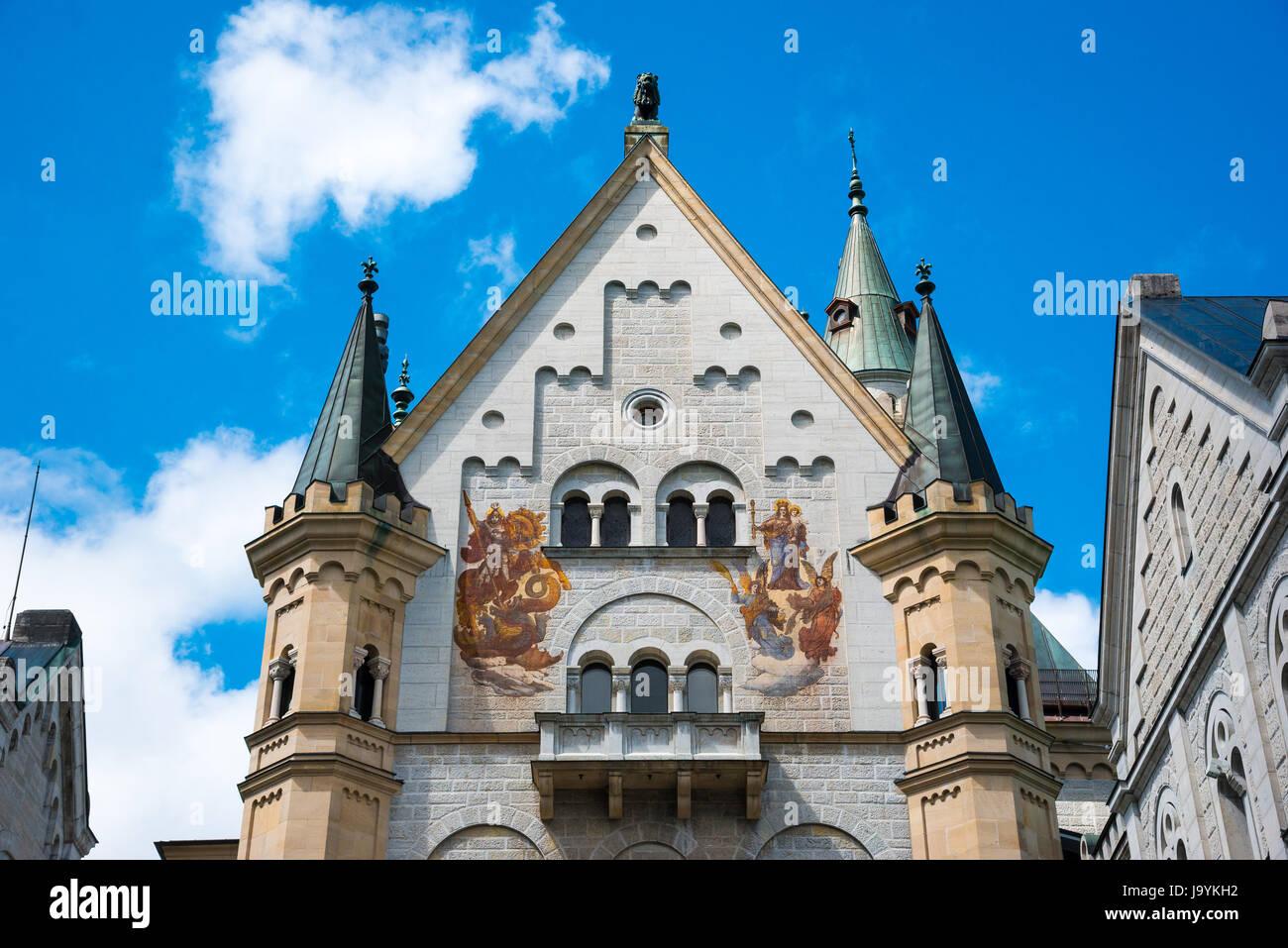Neuschwanstein Castle. Nineteenth-century Romanesque Revival palace in southwest Bavaria, Germany. - Stock Image