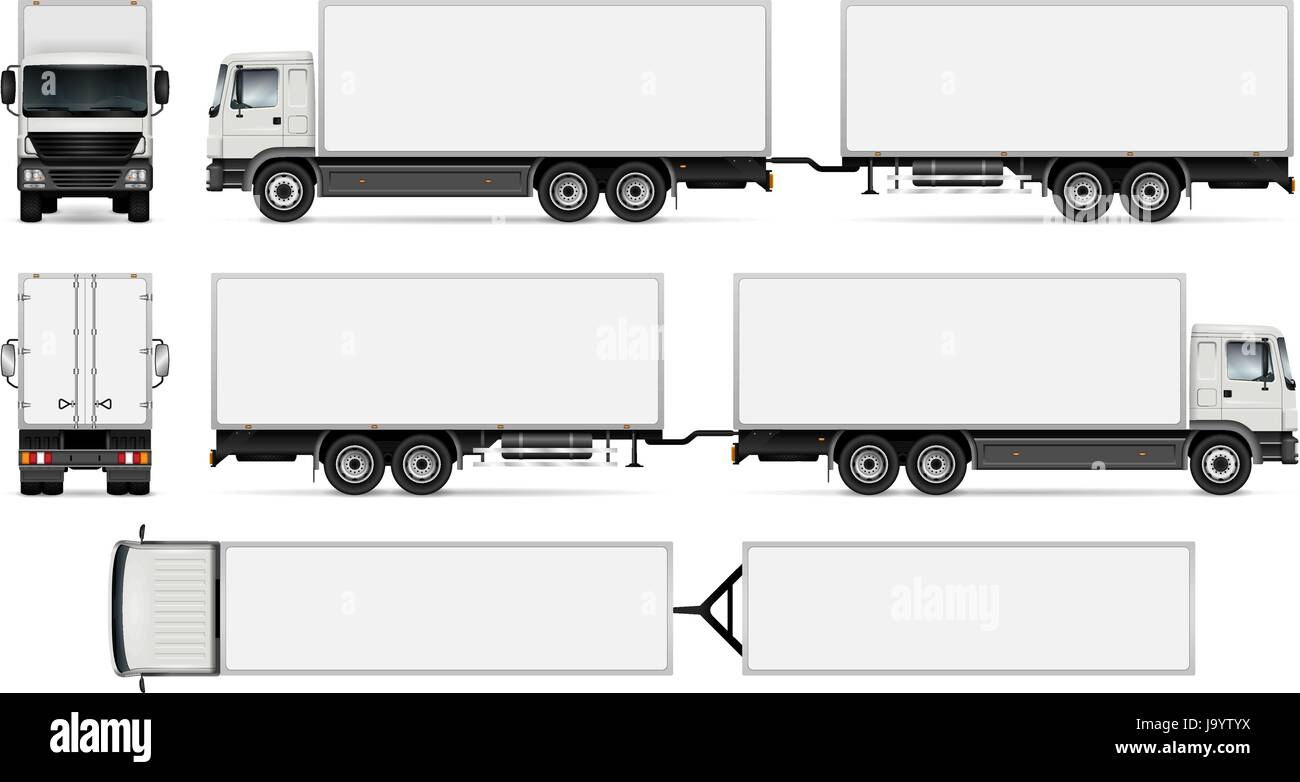 trailer truck template for car branding and advertising isolated