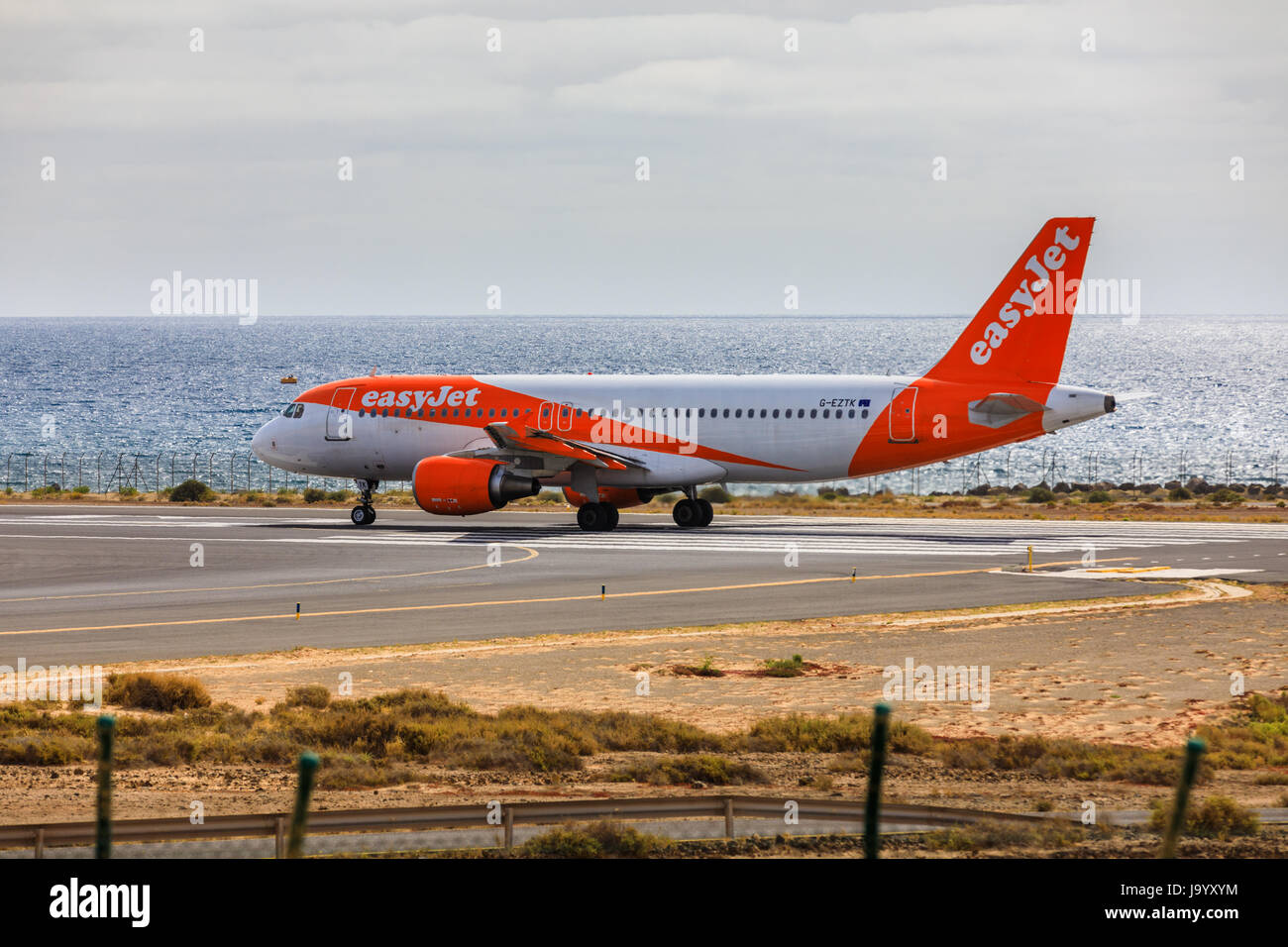 ARECIFE, SPAIN - APRIL, 15 2017: AirBus A320 - 200 of easyjet ready to take off at Lanzarote Airport - Stock Image