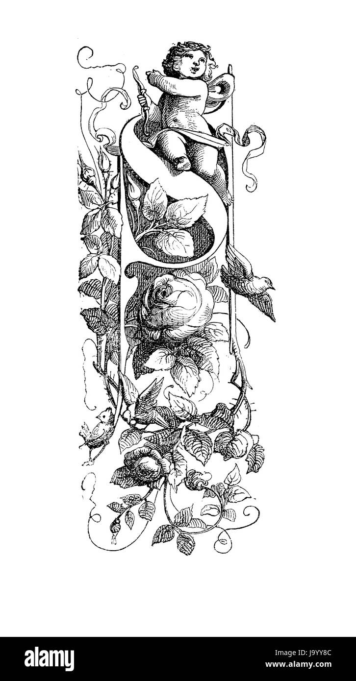Ornate initial 'S', vintage artwork with Cupid and roses - Stock Image