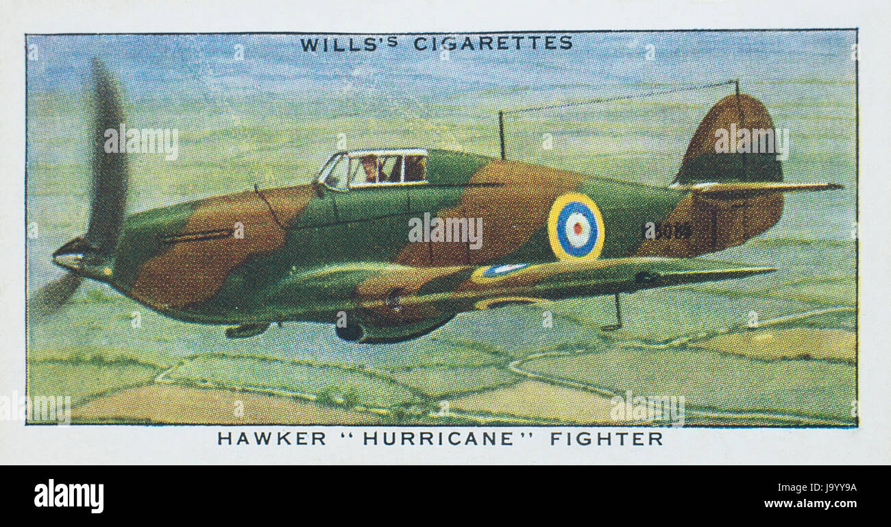 Hawker Hurricane Fighter in Wills 1938 Speed A Series of cigarette cards - Stock Image