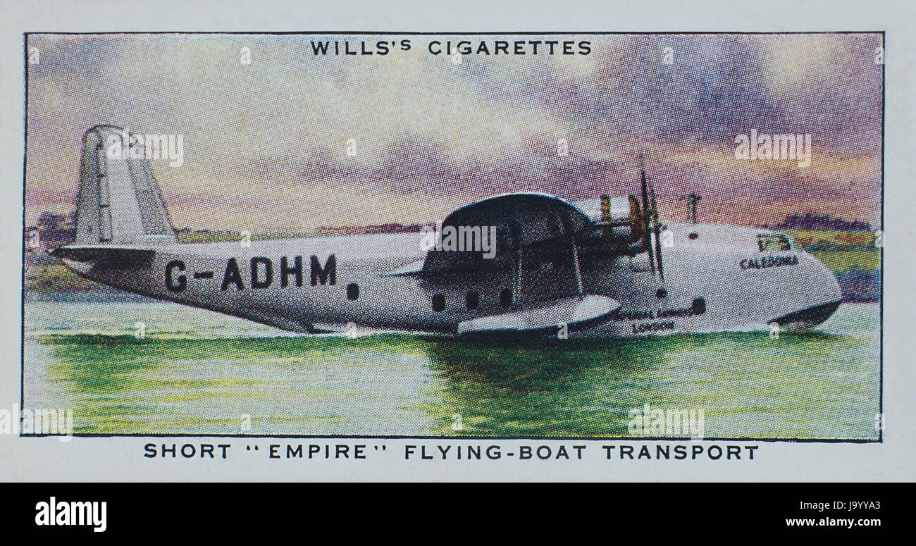 Short Empire Flying Boat Transport in Wills 1938 Speed A Series of cigarette cards - Stock Image