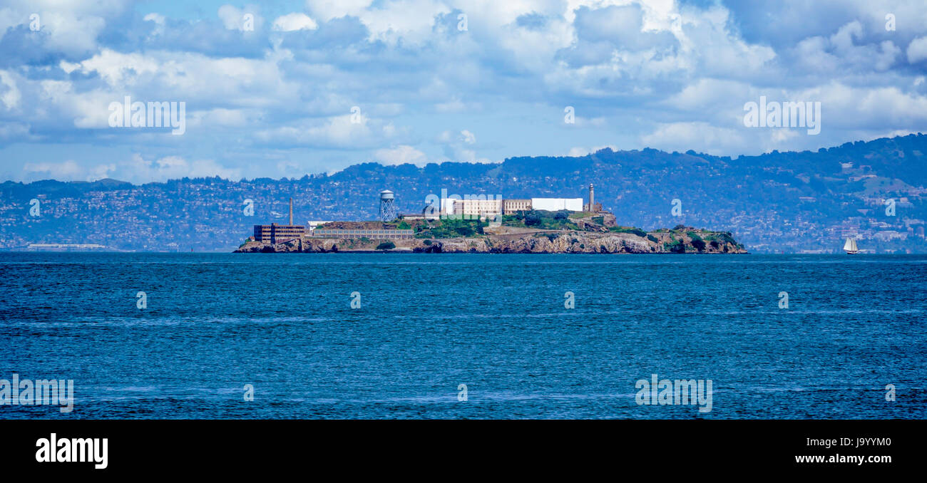 Alcatraz Island and prison in San Francisco - SAN FRANCISCO - CALIFORNIA - APRIL 18, 2017 - Stock Image