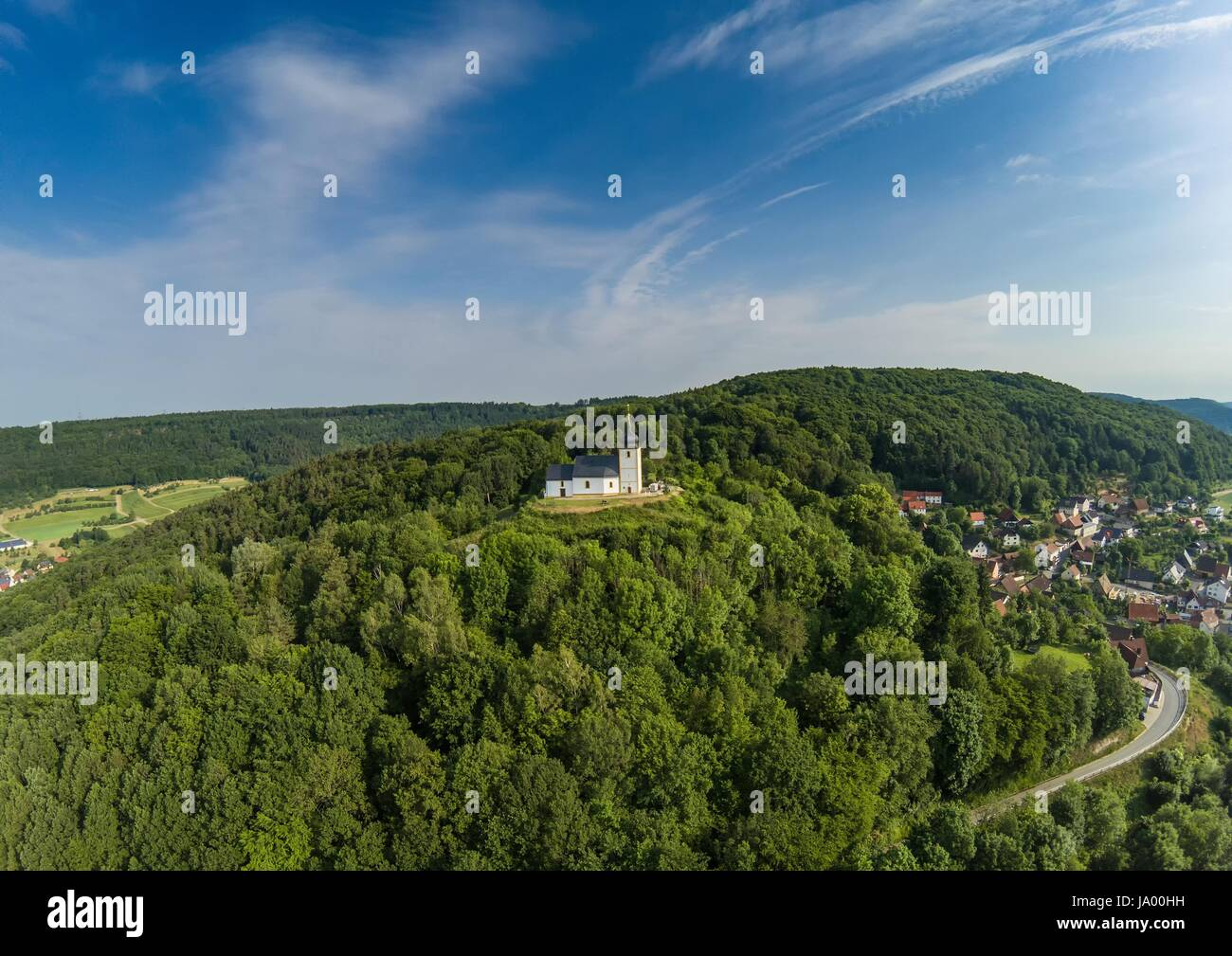 Aerial photo of the Vexier-chapel near the village of Reifenberg at the franconian suisse, Germany - Bavaria Stock Photo