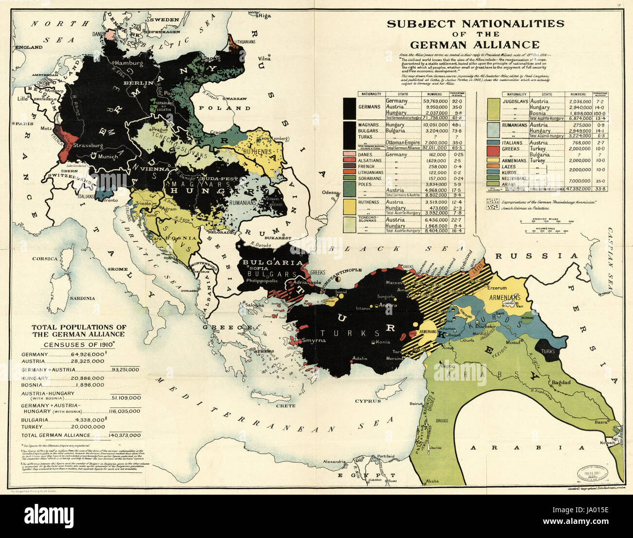 Map drawn from german sources showing nationalities subject to stock map drawn from german sources showing nationalities subject to germany and her allies at the end of world war i london england 1918 gumiabroncs Gallery