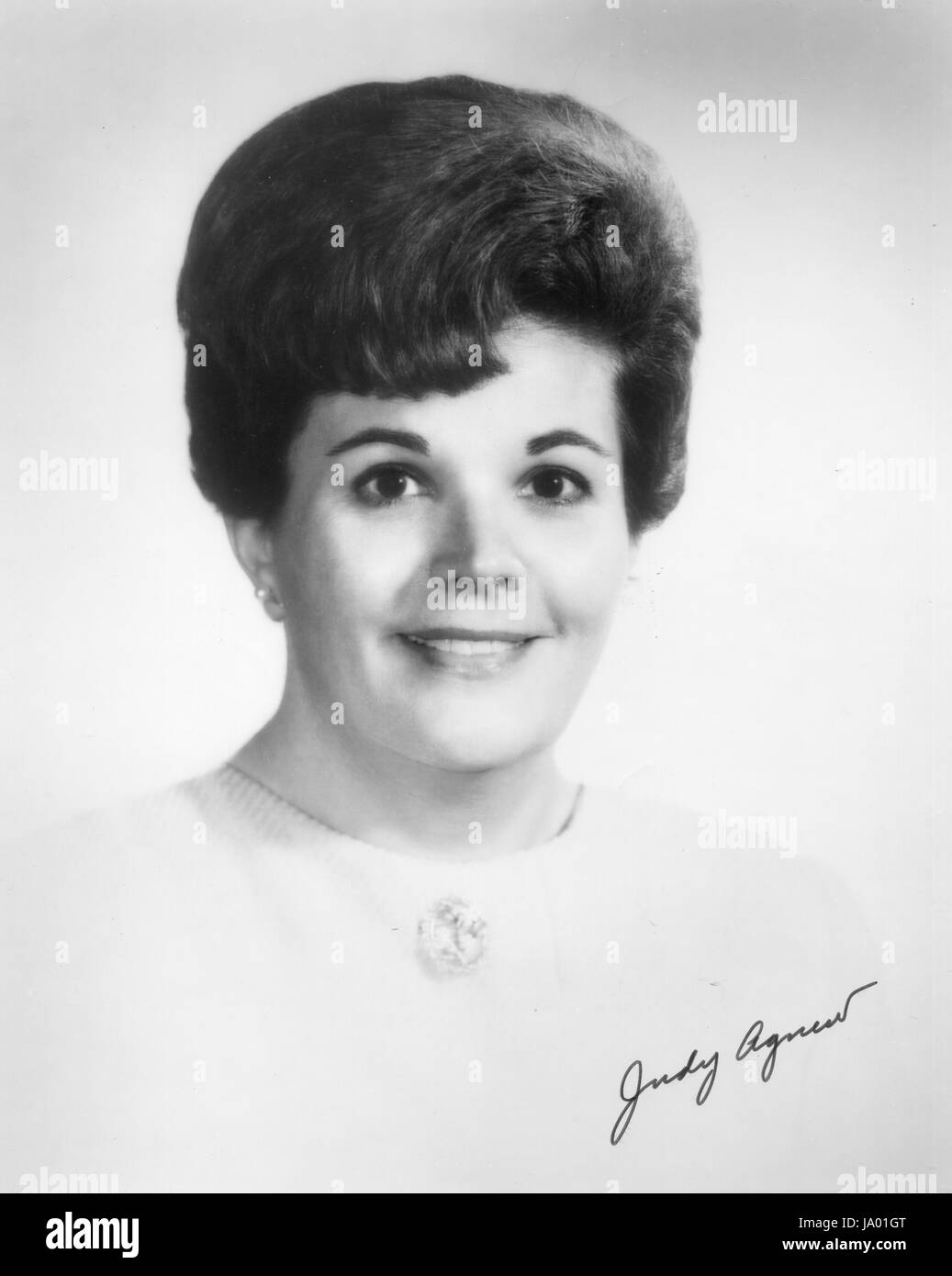 Head and shoulders portrait of Judy Agnew, wife of Spiro Agnew, Vice-President of the United States, Washington, - Stock Image