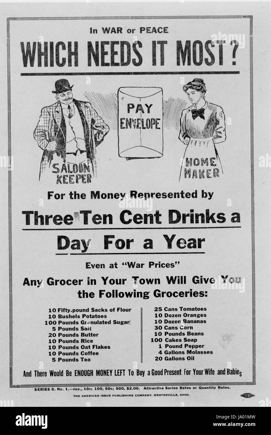 Prohibition poster depicting pay envelope, saloon keeper, and home maker, showing list of groceries that could be - Stock Image