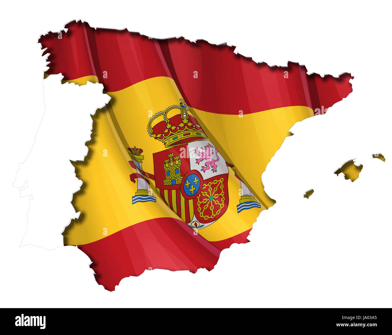 Spanish Map Of Spain.Europe Spain Flag Cut Out Spanish Map Atlas Map Of The World
