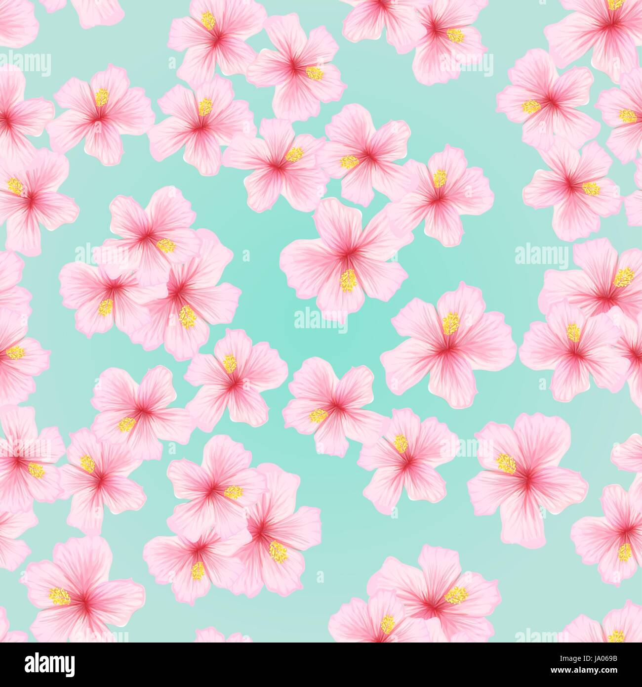 Pink Flower Sakura Seamless Pattern Japanese Cherry Blossom For