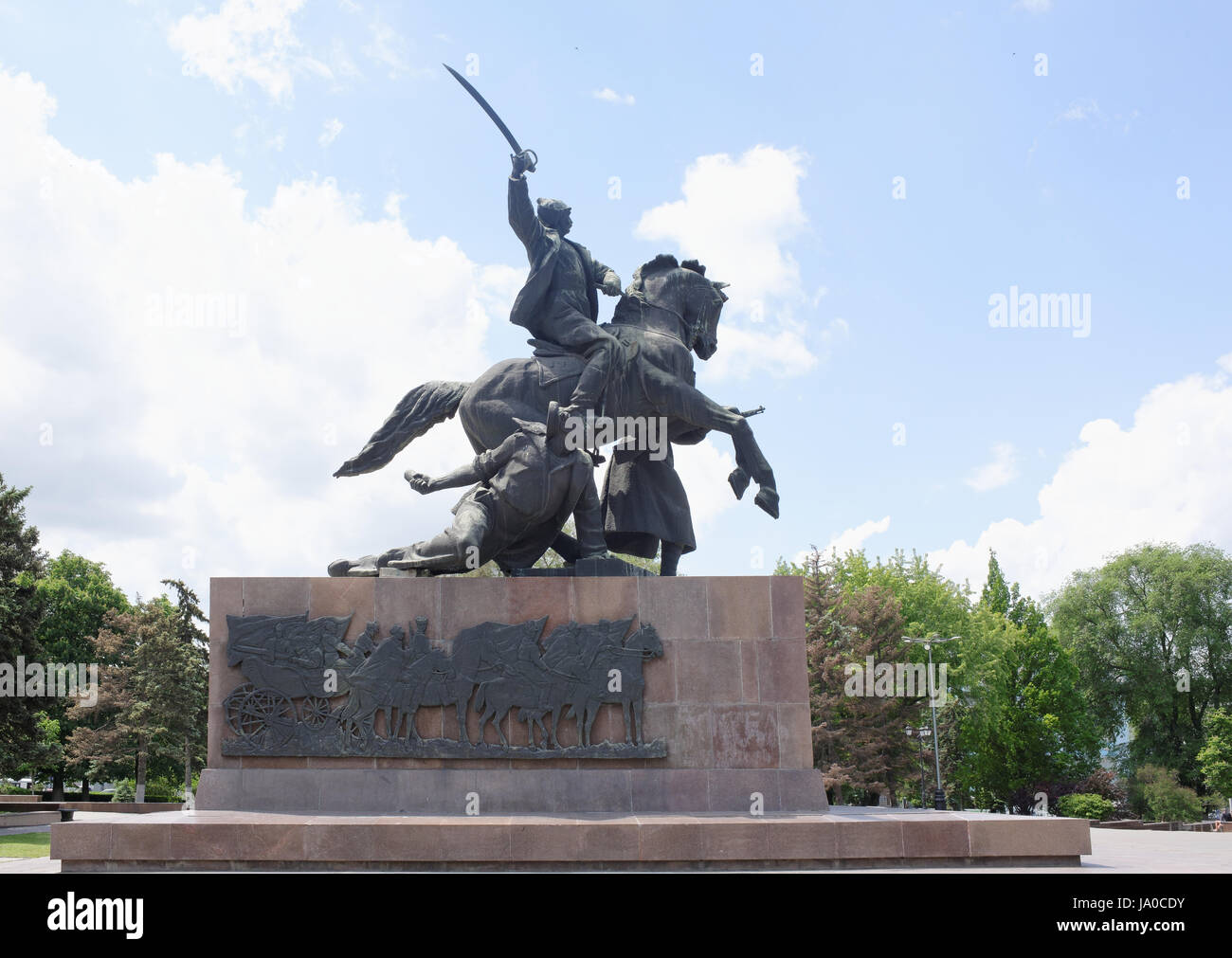 Rostov-on-Don, Russia - May 28,2017: Monument 'First of horsemen'-sculptor E. Vucetich. Dedicated to the - Stock Image