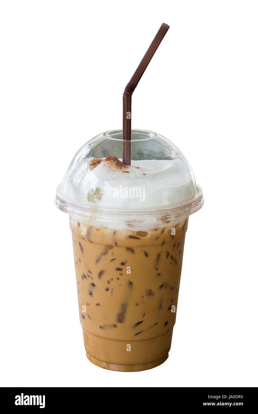Iced Cappuccino Coffee With Straw In Plastic Cup Isolated On