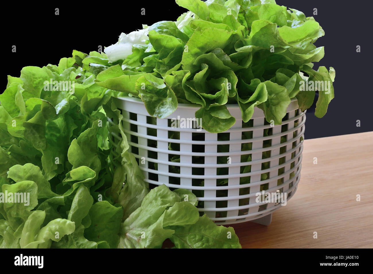 lettuce leaves overflowing from white coliander on cutting board - Stock Image