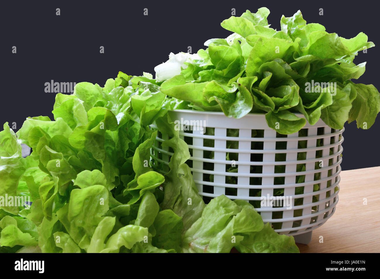 lettuce leaves overflowing white coliander onto cutting board - Stock Image