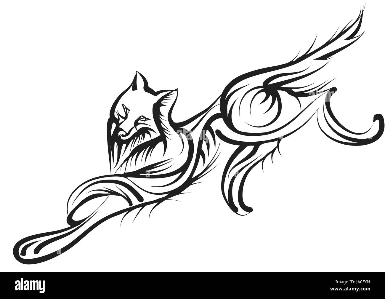 Abstract Wolf Isolated On A White Background Stock Vector