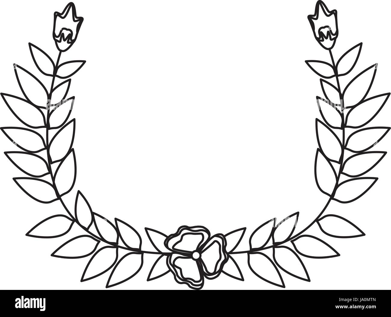 Drawing Crown Half Flower Natural Decoration Laurel Leaves