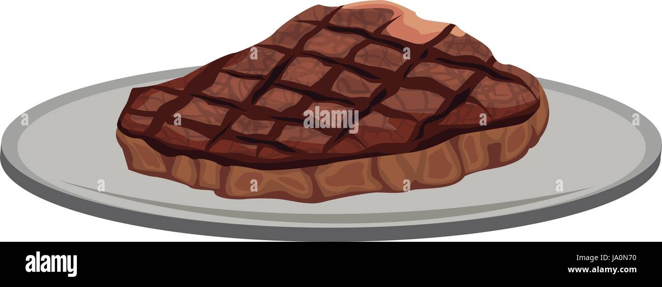 Beef Steak Fillet Grilled On A Plate Icon Cartoon