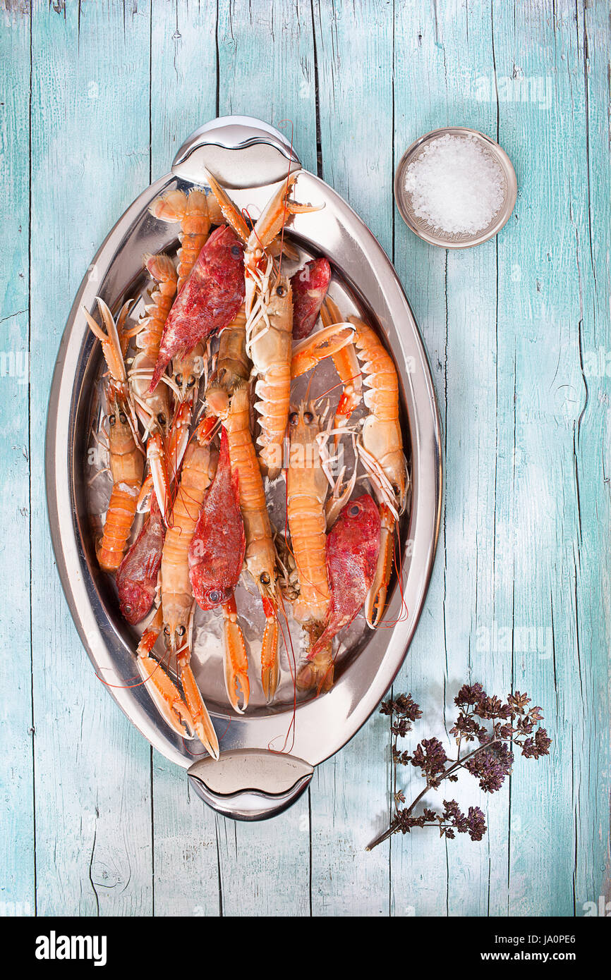 Oval plate with fresh raw lobsters and scorpionfish on wood background, with coarse salt and thyme flowers, top - Stock Image