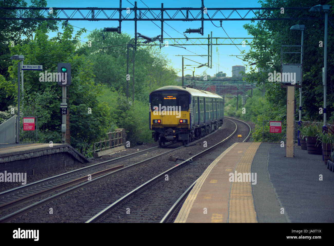 scotrail train station  station platform Drumchapel - Stock Image