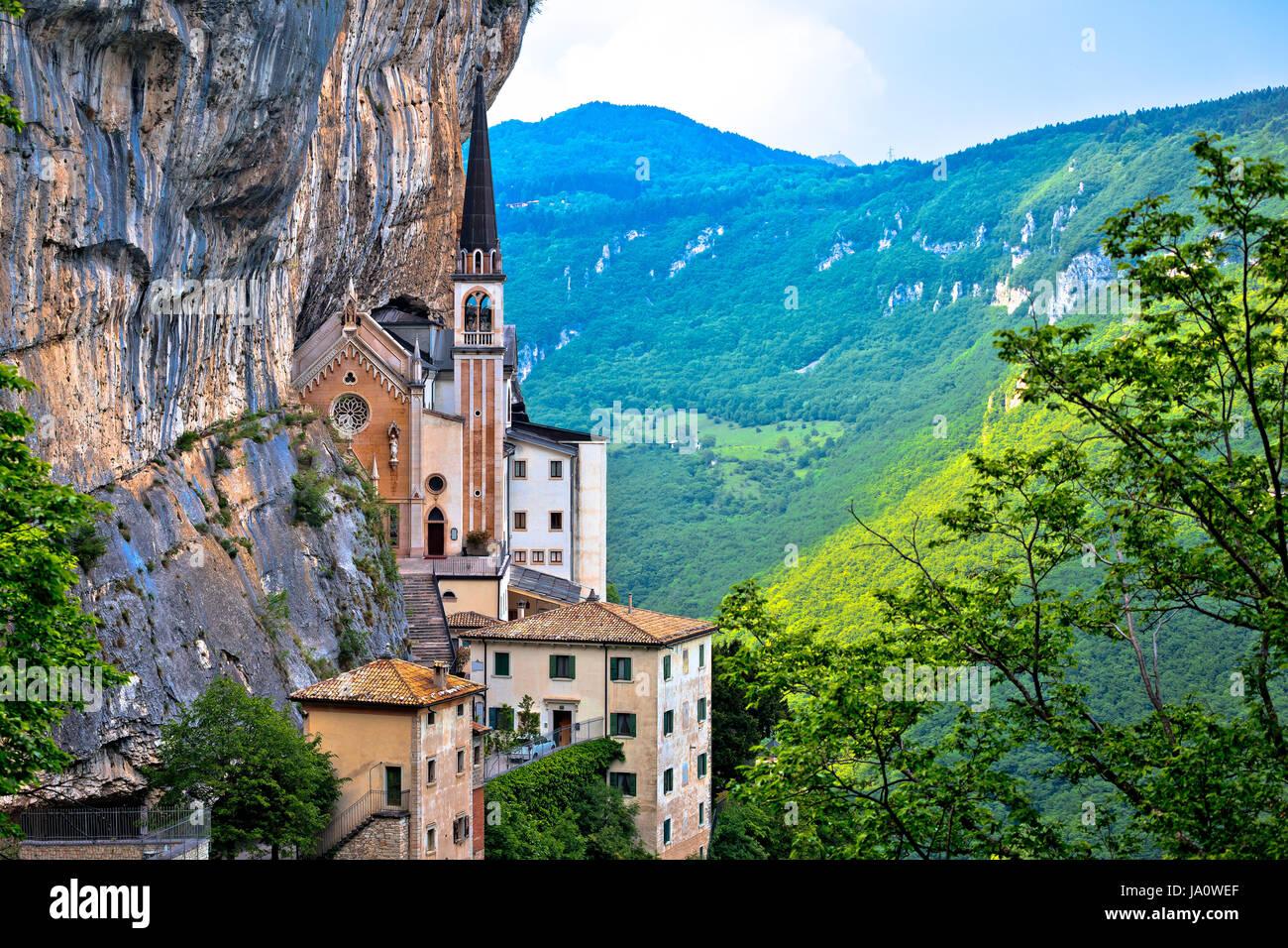 Madonna della Corona church on the rock, sanctuary in Trentino Alto Adige region of Italy - Stock Image
