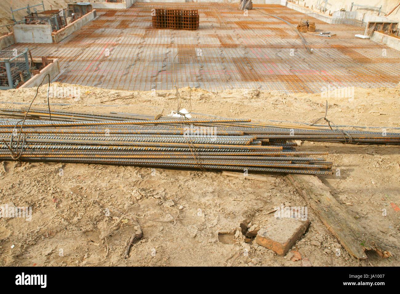 Plate, House Build, Reinforced Concrete, Baugrube, Eigenheimbau