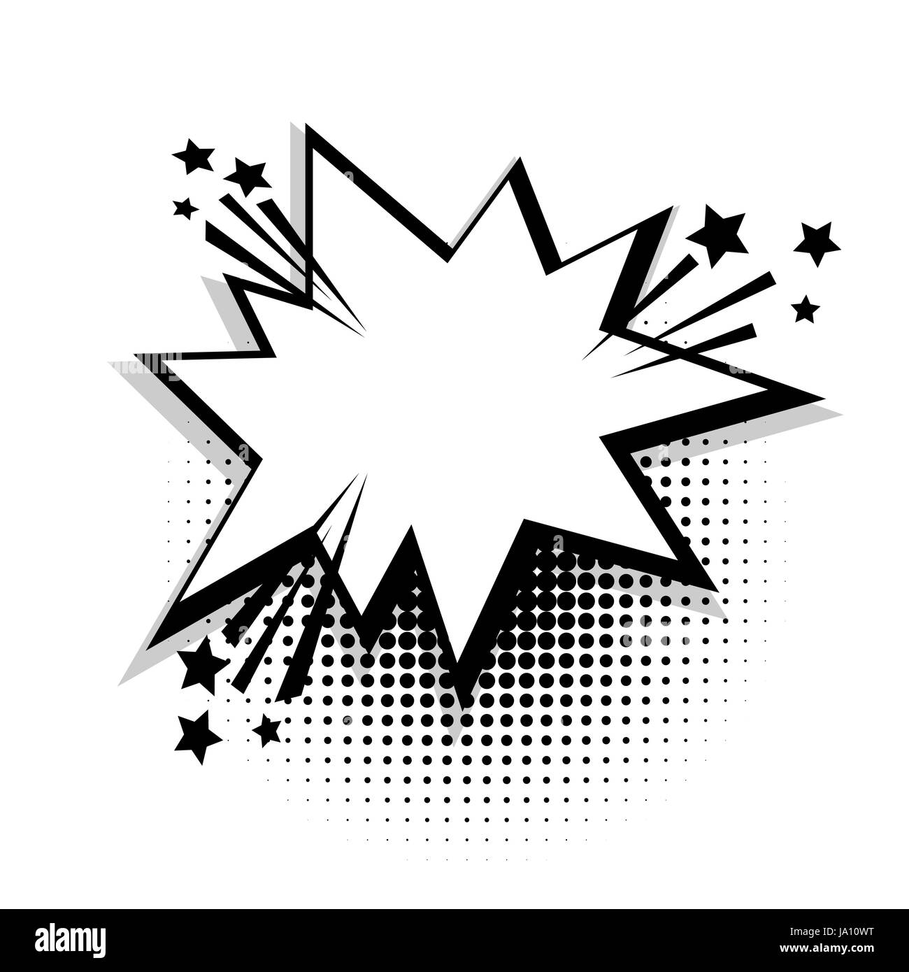 Star Empty White Comic Book Text Balloon Pop Art Bubble Icon Speech Phrase Cartoon Funny Label Tag Expression Sound Boom Explosion Effects Adverti