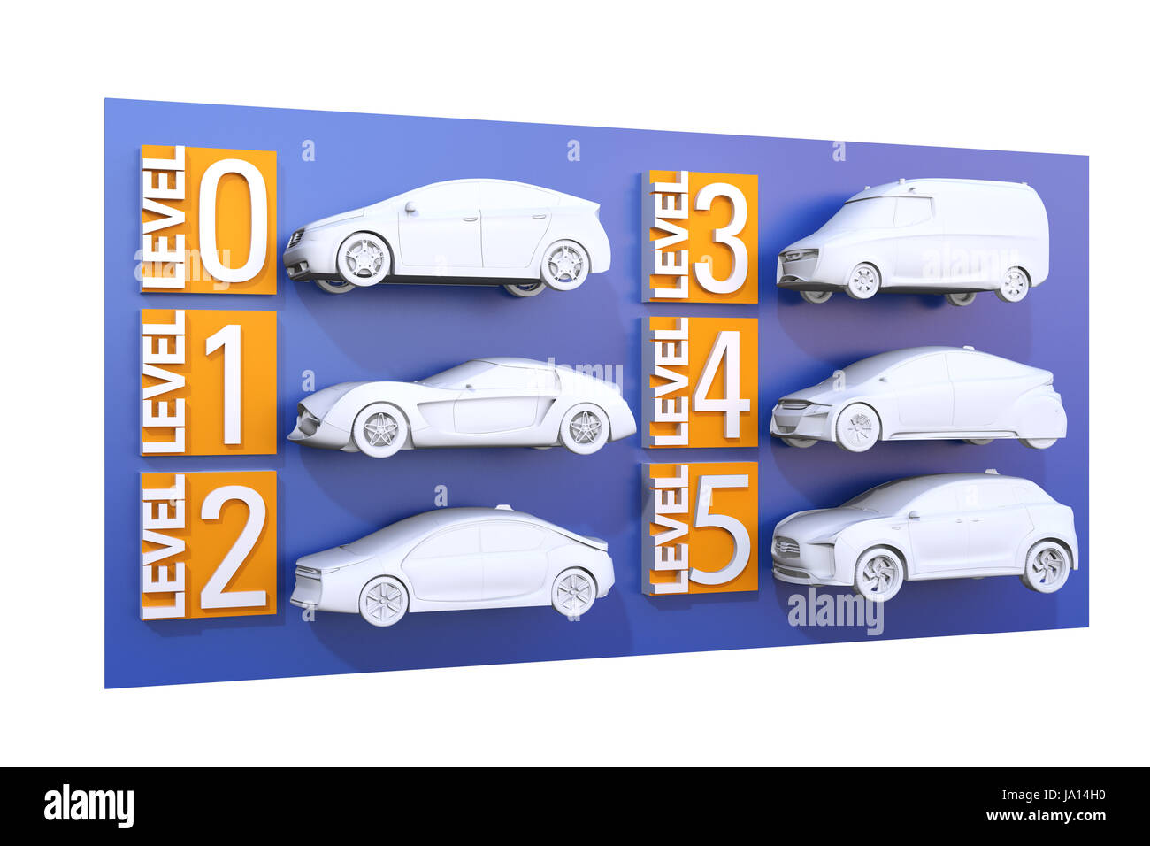 Autonomous car classification concept. 3D rendering image. Stock Photo