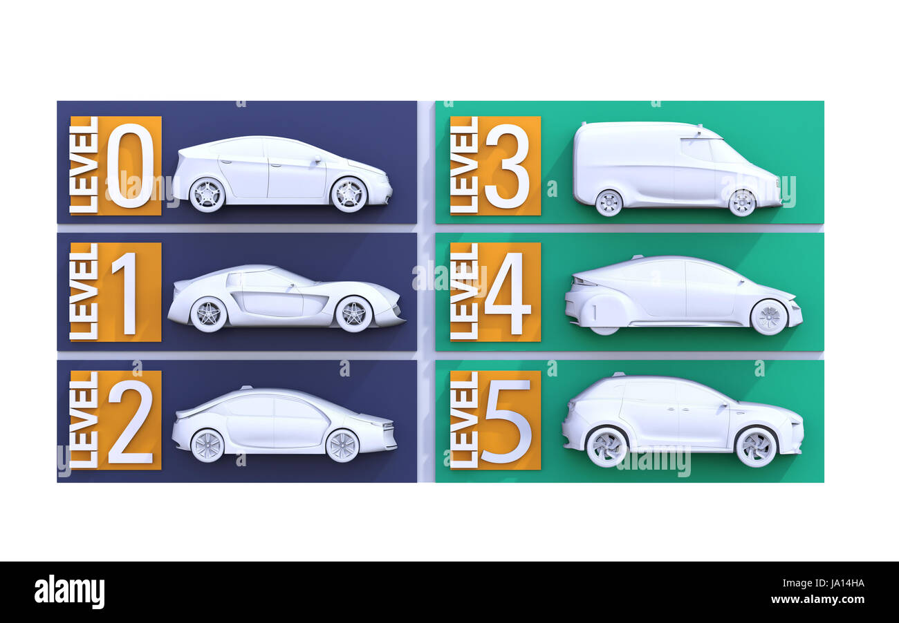 Autonomous car classification concept. 3D rendering image. - Stock Image