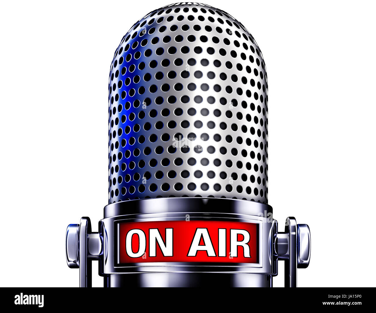 on air microphone Stock Photo