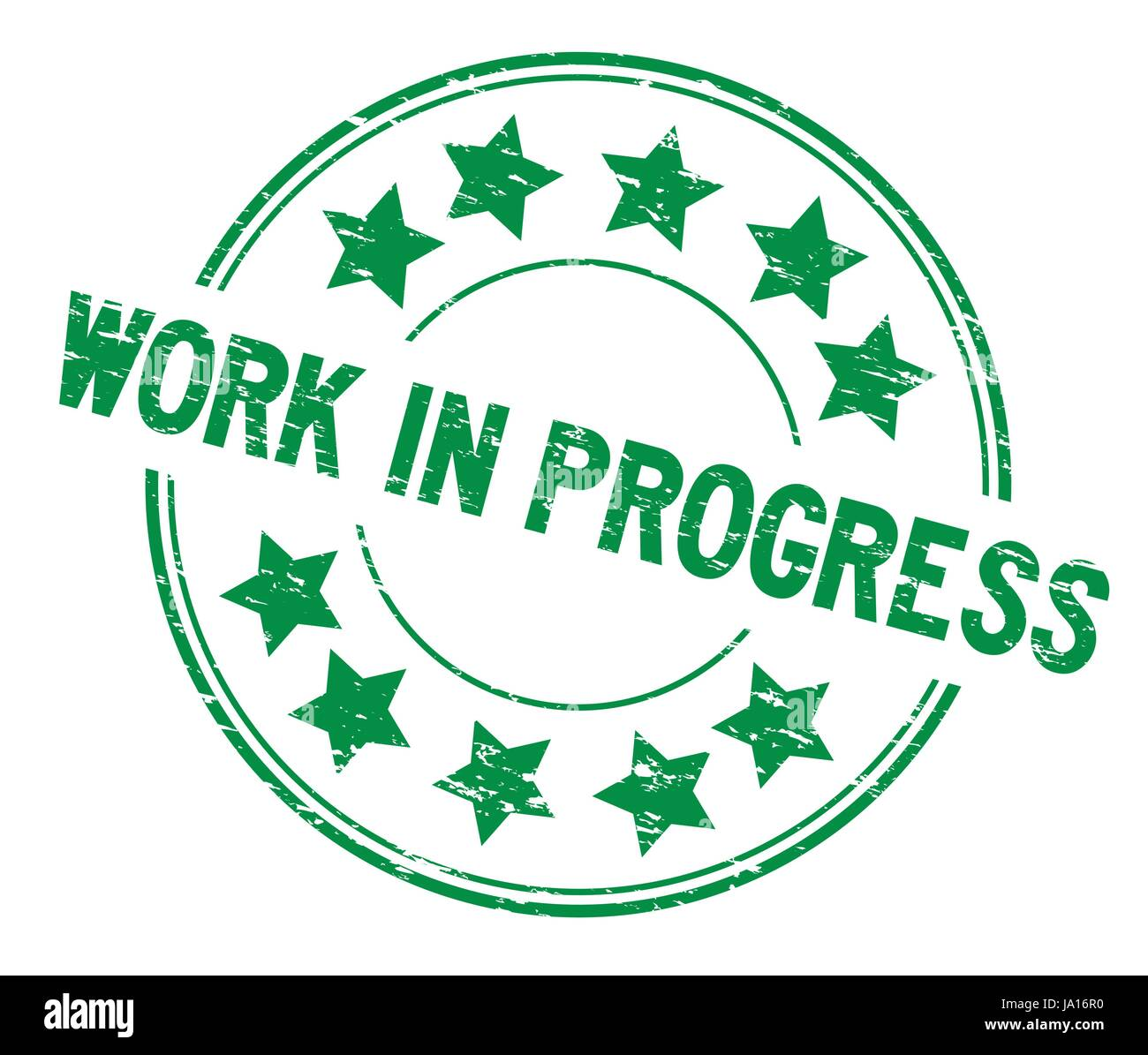 Grunge green work in process with star icon round rubber seal stamp on white background - Stock Vector