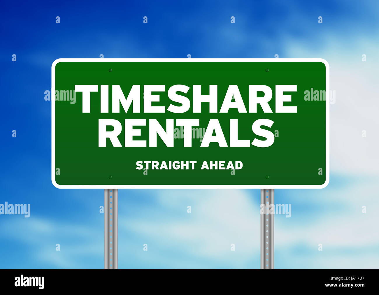 Green Timeshare Rentals highway sign on Cloud Background. - Stock Image