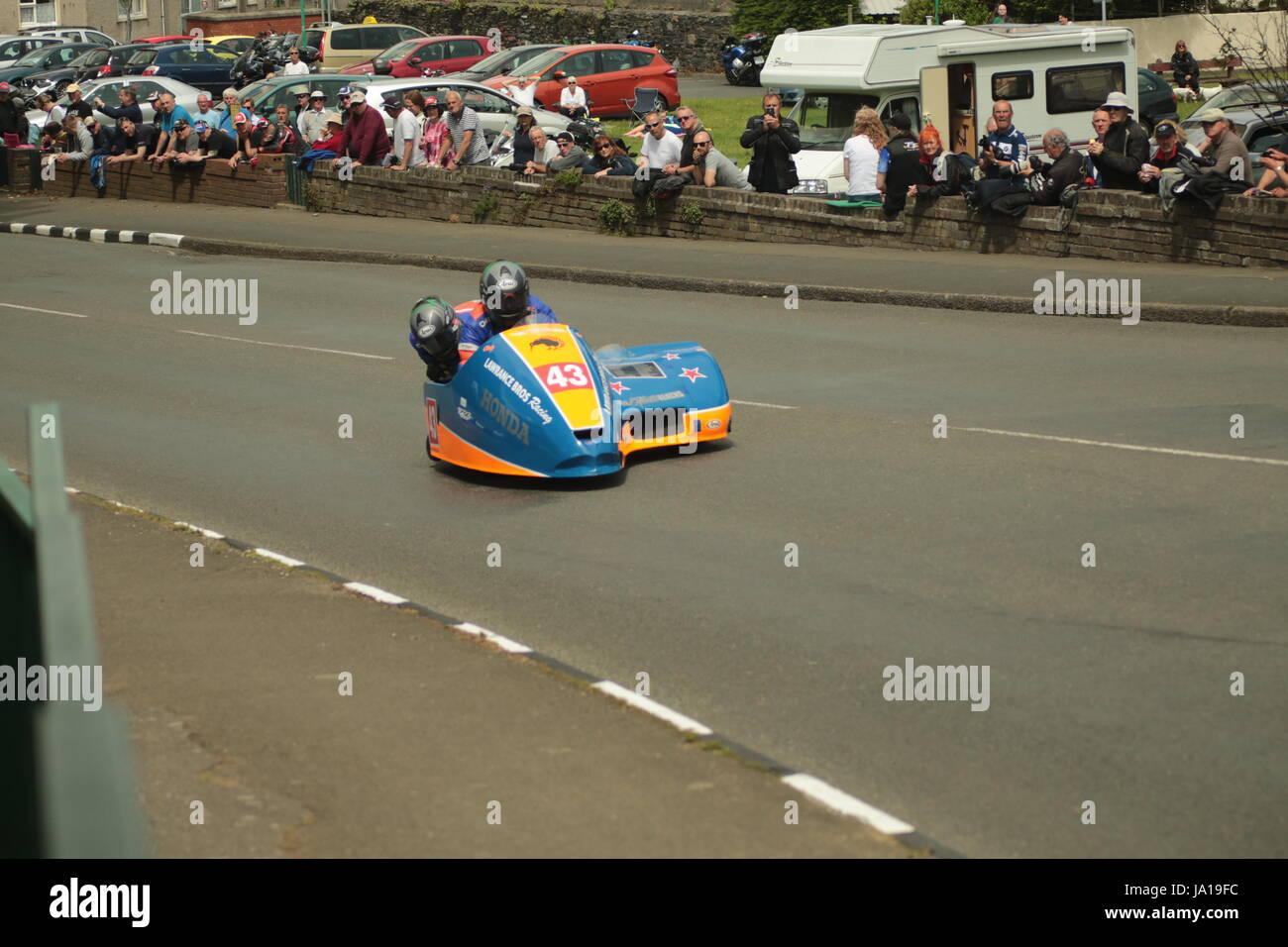 Isle of Man TT Races, Sidecar Qualifying Practice Race, Saturday 3 June 2017. Sidecar qualifying session.  Number Stock Photo