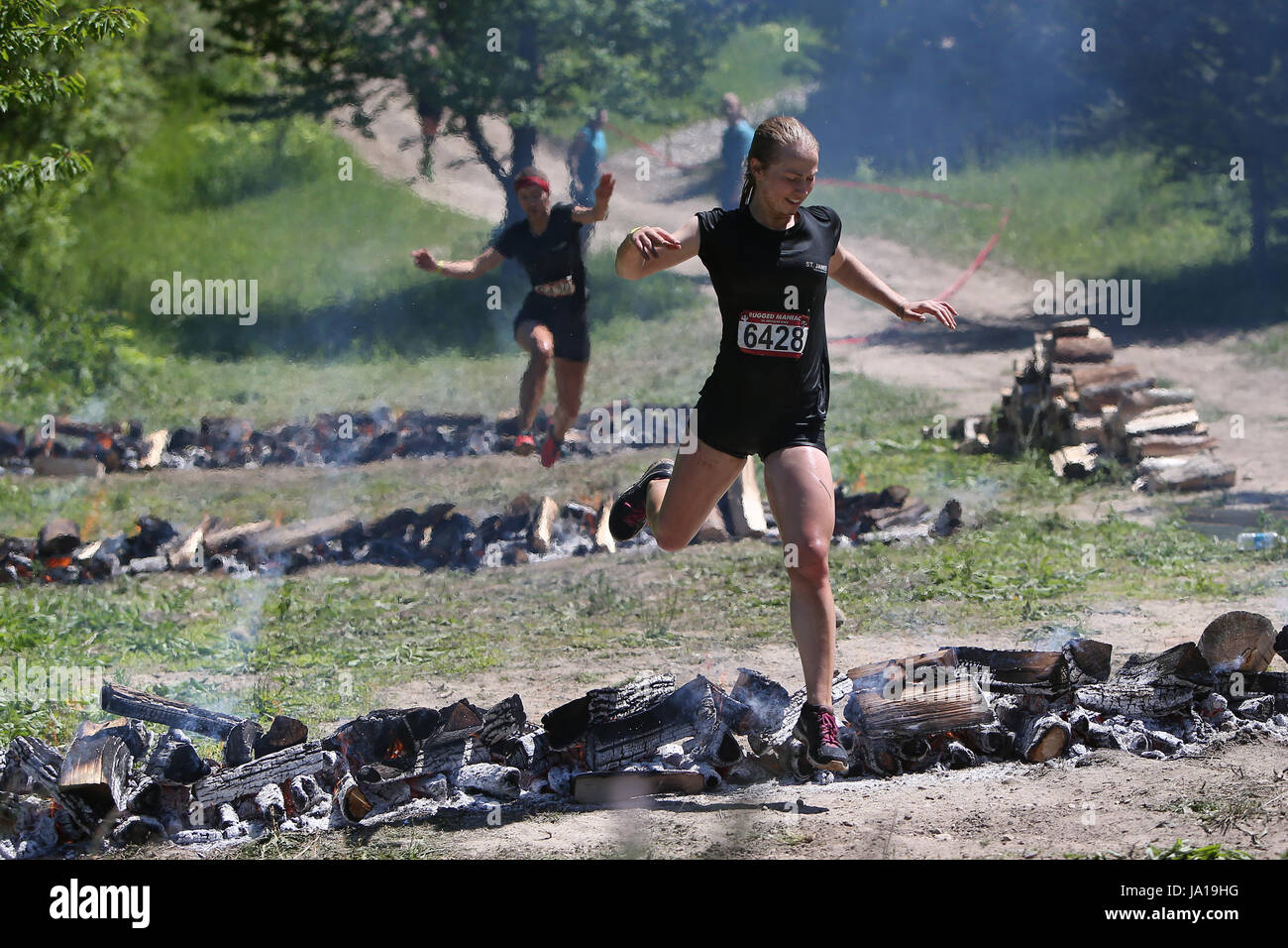 Kitchener, Ontario, Canada. 3rd June, 2017. Participants ran a 5 kilometer course today with obstacles in its way. - Stock Image