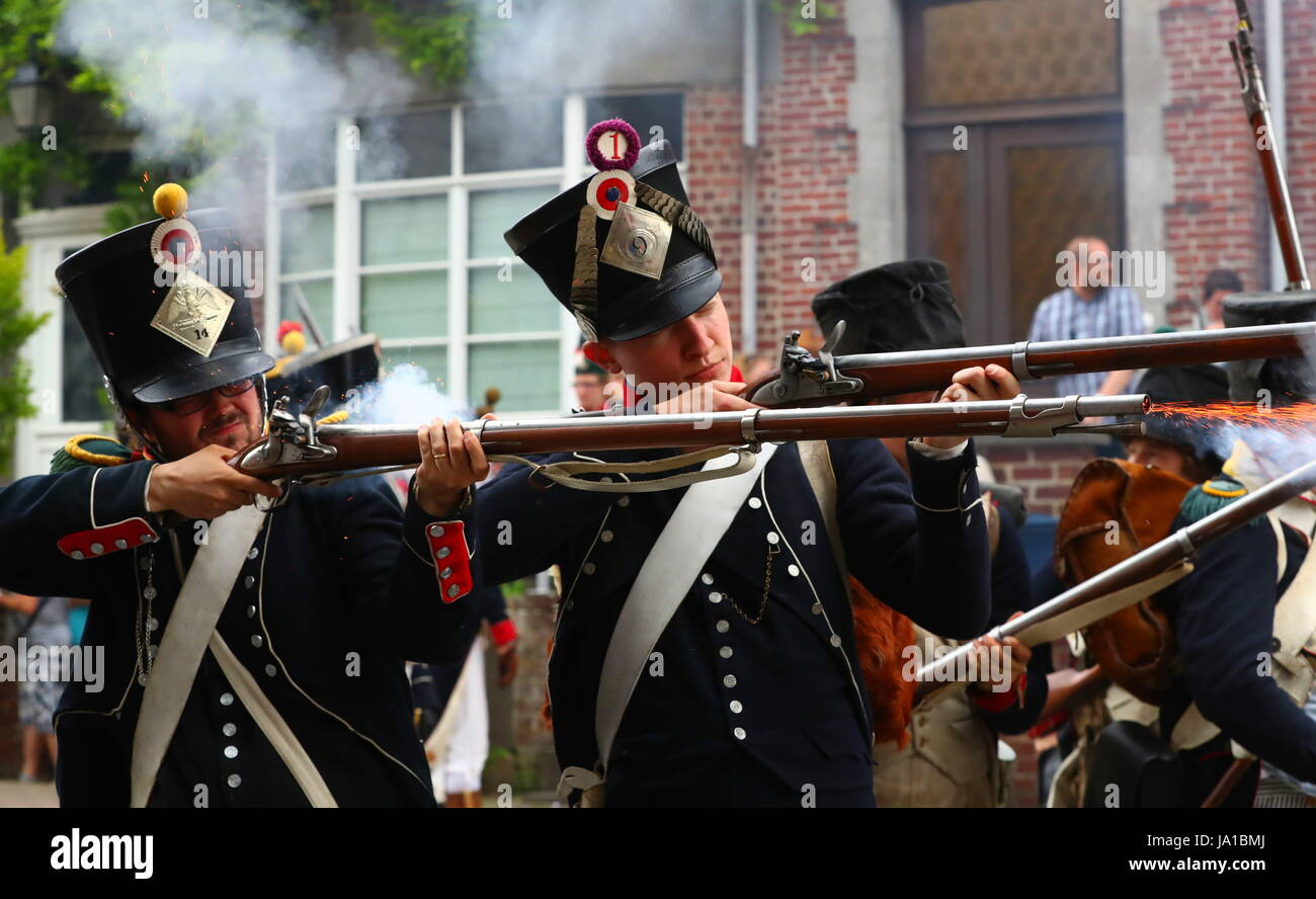 Ligny, Belgium. 3rd June, 2017. Participants take part in the re-enactment of the Battle of Ligny, in Ligny, Belgium, - Stock Image